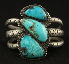 Rustic Old Pawn Cuff with 3 Turquoise Stones