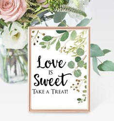 Printable Love is Sweet Candy Table Sign 8x10 PDF