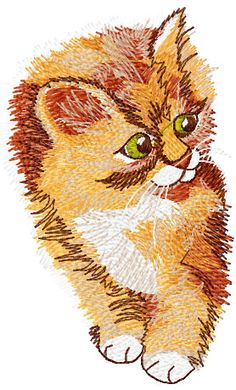 Cute kitten free machine embroidery design