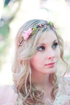 Couronne de cheveux mariée, Couronne de fleurs, couronne florale, fleur de cerisier rose, accessoires de mariée rose, fleur pour les cheveux...