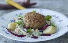 Karbonader/krebinetter med stuvede grønærter