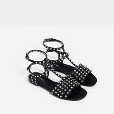 Image 3 of FRINGED AND STUDDED FLAT SANDALS from Zara