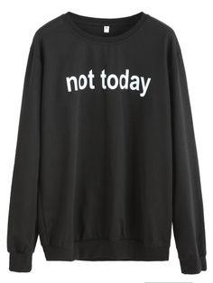 Black Letters Print SweatshirtFor Women-romwe