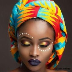 bold make up African Tribal Makeup, African Beauty, African Face Paint, Tribal Face Paints, African Traditions, African Head Wraps, Afro Art, My Black Is Beautiful, Black Women Art