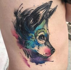 Fantastic watercolor wolf tattoo by Aleksandra Kozubska