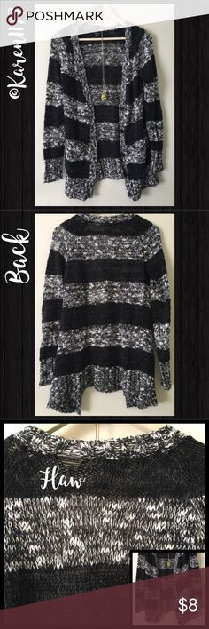 Just in🔹Rue 21 Long Cardigan Sweater🔹 Preloved in great conditions. V Closure with Buttons. Black & Grey Color. Please look at 3rd picture, there is a Small flaw on Back. Just washed and Cleaned, noticed that. Priced accordingly and priced to sell. ‼️Bundle & Save‼️ Thanks for looking‼️ Rue21 Sweaters Cardigans