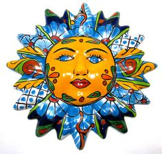 picture of mexican wall hanging talavera pottery sun face 10