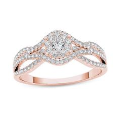 1/2 CT. T.W. Composite Diamond Frame Engagement Ring in 14K Rose Gold