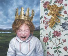"""David Lihard """"J'ai avalé la fève"""", huile sur toile, 54 x 65 cm, 2011"""