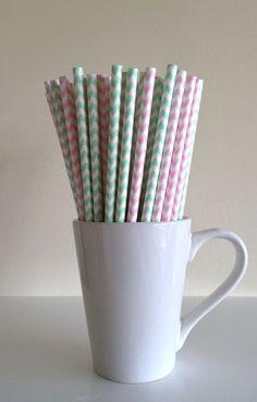 Paper Straws - 25 Mint Green and Light Pink and White Chevron Party Straws Birthday Wedding Baby Shower Bridal Shower Mason Jar Straws Mix