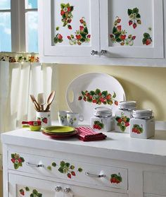 strawberry decorations for kitchen - Bing Images **STRAWBERRY DECALS FOR KITCHEN CUPBOARDS**