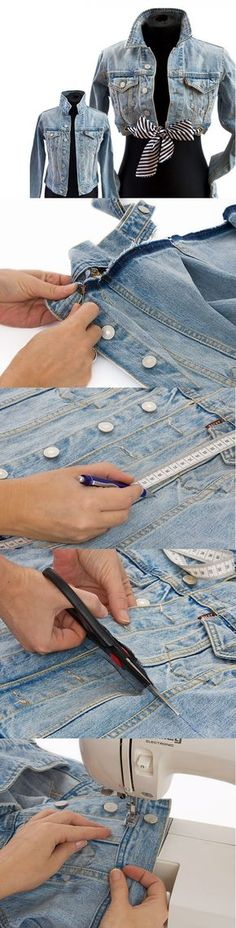 DIY Clothes | I love the cropped jean jacket. I have an extra jacket, that I could revitalize