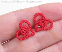 Tiny red heart studs made from tatted lace #tatted lace studs #heart studs #red heart