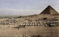 EGYPT: Established on the outskirts of Cairo and home to the Australian troops prior to the Gallipoli Campaign - Mena Training Camp. Photo: courtesy of The Digger's View. in Colour by Juan Mahony. Camping In England, Camping In Ohio, Ww1 Photos, Colorized Photos, World War One, First World, Anzac Soldiers, Gallipoli Campaign, Horse Camp