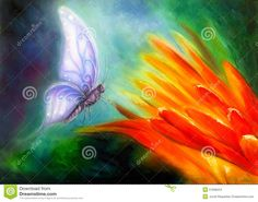 Butterfly Flying Towards A Bright Orange Flower, Beautiful ...