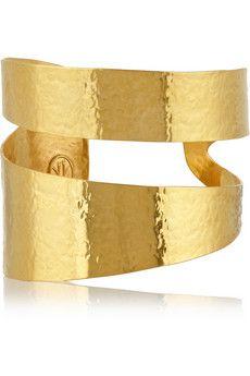 Hervé Van der Straeten Hammered gold-plated cuff | NET-A-PORTER