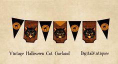 Vintage Halloween Cat Garland Printable Digital Download. $4.00, via Etsy.