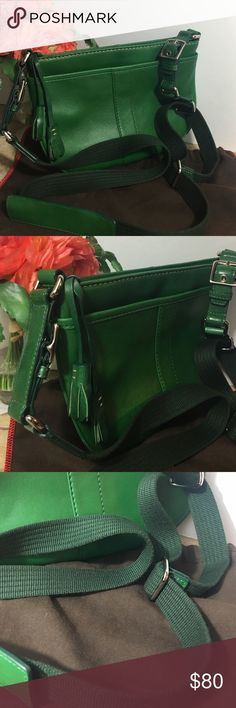 "COACH True Green Leather Crossbody w Tassels Lovely true green cross body leather Coach with adjustable canvas 23 to 26 inch strap. Excellent condition. Measurements: 6""w x 9.5"" l. Coach Bags Crossbody Bags"