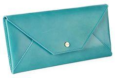 Leather Travel Envelope, Aqua on OneKingsLane.com