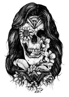 Batman, Superman And Wonder Woman Tattoo-Style Art - Sci-Fi Design Blackwork, Comic Tattoo, Tattoo Art, Tattoo Drawings, Pencil Drawings, Batman Girl, Women Skeleton, Wonder Woman, Sleeve Tattoos For Women