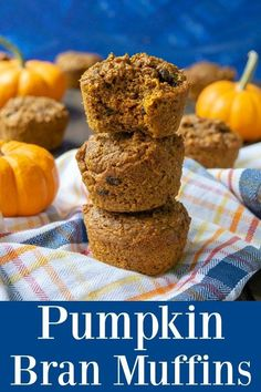 Pumpkin Bran Muffins - These high fiber muffins are easy to make and full of tons of flavors. These healthy pumpkin muffins are a great options for breakfast or snacks! Fun Baking Recipes, Healthy Baking, Baby Food Recipes, Muffin Recipes, Healthy Meals, Breakfast Recipes, Breakfast Muffins, Healthy Recipes, Breakfast Time