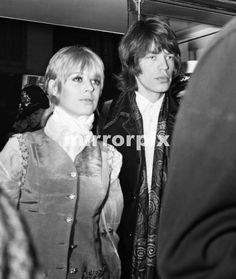 "Mick Jagger, with girlfriend Marianne Faithfull as they attend the premiere of the Stanley Kubrik science fiction film ""2001 A Space Odyssey"" in London. 10th May 1968."