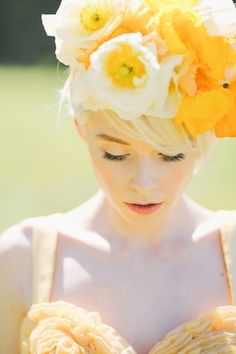 Yellow poppy flower crown   Lara Hotz Photography   see more on http://burnettsboards.com/2014/02/colors-incredible-inspiration-shoot/
