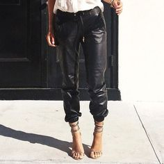 Street style - Vince leather pants, Isabel Marant chain heels