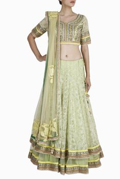 Buy Regalia Pastel Green #Lehenga #Choli exclusively on Violet Street, India's Largest #online #boutique #marketplace!  #ethnic #ethereal #designers #traditional #parties #ootn #women #onlineshopping