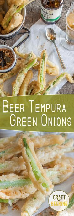 Beer Tempura Green Onions with a Sesame Soy Dipping Sauce. Crispy and airy batter coats sweet spring onions. The perfect beer snack!