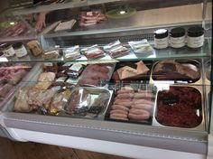 The high welfare meat counter ...contains local beef,local venison,freedom certified organic chicken, and local pedigree Berkshire pork.