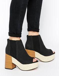 ASOS EARLY AVENUE Mega Chunky Peep Toe Chelsea Boots