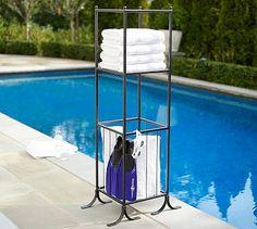 Bronze Pool Storage Towel Shelf Hamper