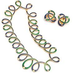 Vintage Designer Necklace & Earring   Alpha, 1970s  18CT Gold Plate