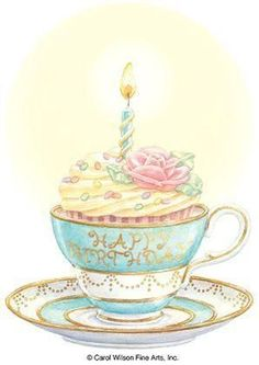 Carol Wilson Stationery Teacup Cake Birthday Greeting Card