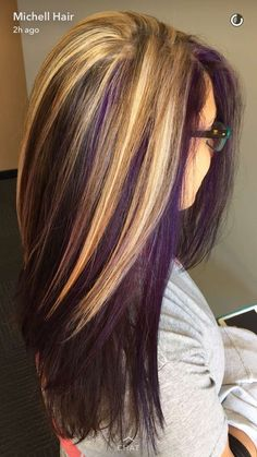 Blond and purple hair. Are you looking for dark burgundy plum violets purple hair color highlights lowlights for New Years? See our collection full of dark burgundy plum violets purple hair color highlights lowlights for New Years and get inspired! Hair Color Purple, Hair Color And Cut, New Hair Colors, Blonde Color, Brown Blonde, Plum Purple, Light Purple, Blonde Hair With Purple Highlights, Purple Hair Tips