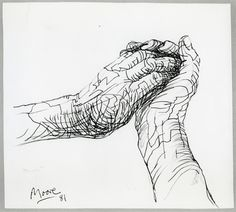 The Artist's Hands 1981 HMF 81(131) pencil, ballpoint pen on Bockingford white wove 227 x 253mm photo: The Henry Moore Foundation archive