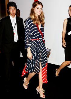 Striped wrap dress | Olivia Palermo
