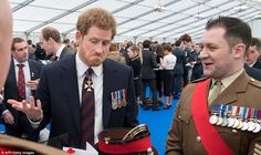 William made the quip about Harry (pictured) at a reception at Horse Guards Parade for military servicemen and women and civilians who had served in Afghanistan and the two Gulf Wars