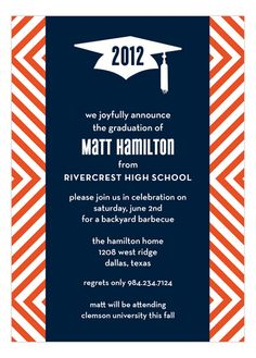 15 high school graduation invitation wording ideas high school orange graphic graduate invitationother idea for invites with yellow and navy filmwisefo