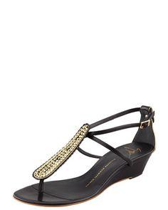 Strass T-Strap Wedge Sandal, Black by Giuseppe Zanotti at Bergdorf Goodman.