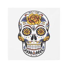 Rose Mexican Sugar Skull Day of the Dead Metal Print - art artwork picture diy unique