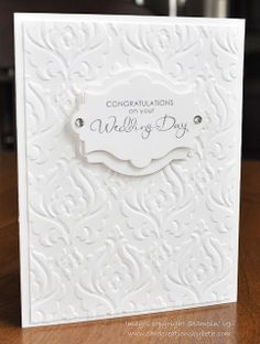 Stamps: Occasional Quotes (Retired)  Paper: White Card Stock (8-1/2x5-1/2 Card Base,     4x5-1/4 Embossed Layer, (2) 3-1/2x2-1/4 Pieces for Labels Ink: Basic Gray Accessories: Beautifully Baroque Embossing Folder, Apothecary Accents and Deco Labels Collection Framelits, Rhinestones, Dimensionals