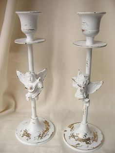 Angel Candle Stick Holders in Chippy White  Set by happybdaytome