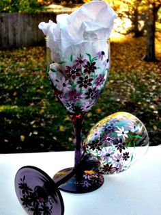 Wine Glasses, Mauve and Clear Pair Wine Glasses, Hand Painted Mauve Flowers
