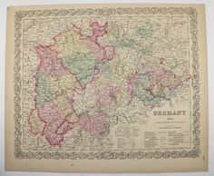 Antique Germany Map Vintage Old Map of Germany North Western 1859 Colton Unique Christmas Gift for Home Office Genealogy 1st Anniversary by OldMapsandPrints