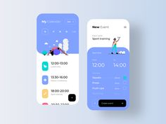 Task Manager App UI by Ron Design on Dribbble App Ui Design, Mobile App Design, Mobile Ui, Interface Design, Flat Design, Calendar Ui, Kids Calendar, Calendar Design, Bauhaus