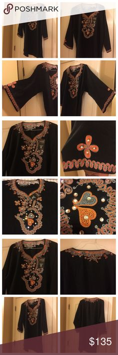 2 piece Black Lining embellished African Casual 2 piece (trouser and top) 3/4 fully embellished with embroidery and stones. Black linen. For casual formal wear. Size 22 for British measurements, for your true measurements see attached photos. No hold , no modeling, no trade! hand made Dresses High Low