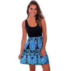CutePaw Women's Printed Scoopneck Sleeveless A-Line Skater Dress Summer Short Boho Dress Sun Dress Best Boho Dress Summer USA Plus Size Dresses, Short Dresses, Summer Dresses, Mini Dresses, Floral Dresses, Streetwear, Shops, Aqua, Street Style