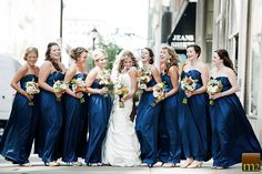 Downtown-Club-Philadelphia-Wedding     Bridesmaids in Blue Watters Long Gowns